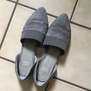Eileen Fisher grey suede flats